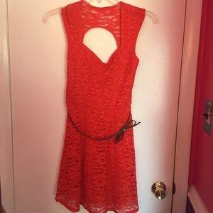 Orange coral laced dress
